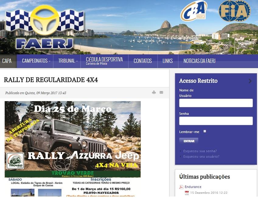 O campeonato já conta com citação direta e reconhecimento no site da FAERJ